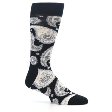 Image of Black White Grey Paisley Men's Dress Socks (side-1-25)