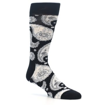 Image of Black White Grey Paisley Men's Dress Socks (side-1-26)