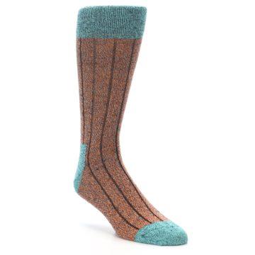Image of Orange Teal Wool Blend Men's Dress Socks (side-1-front-01)