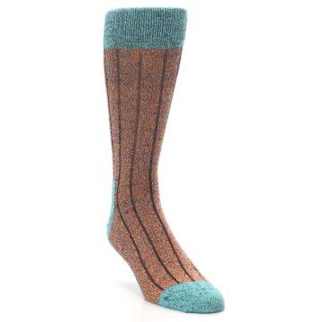 Image of Orange Teal Wool Blend Men's Dress Socks (side-1-front-02)