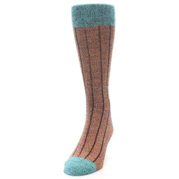 Image of Orange Teal Wool Blend Men's Dress Socks (side-2-front-06)