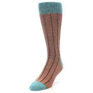 Image of Orange Teal Wool Blend Men's Dress Socks (side-2-front-07)