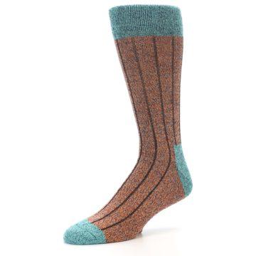Image of Orange Teal Wool Blend Men's Dress Socks (side-2-09)