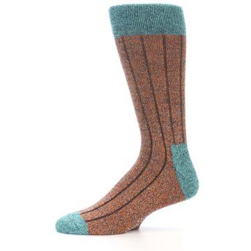 Image of Orange Teal Wool Blend Men's Dress Socks (side-2-11)