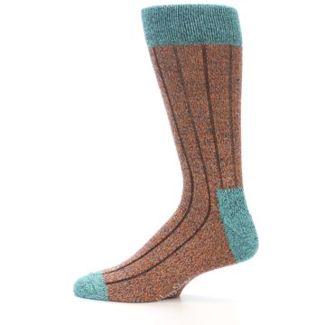 Image of Orange Teal Wool Blend Men's Dress Socks (side-2-12)