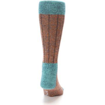 Image of Orange Teal Wool Blend Men's Dress Socks (back-19)