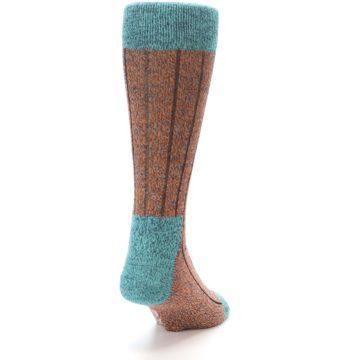 Image of Orange Teal Wool Blend Men's Dress Socks (side-1-back-20)
