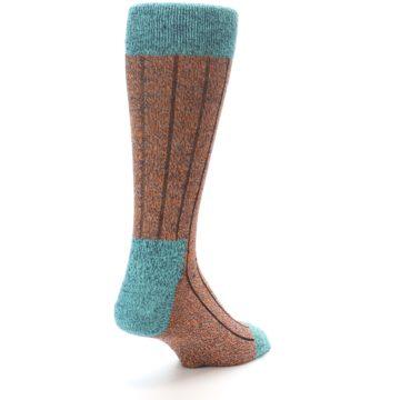 Image of Orange Teal Wool Blend Men's Dress Socks (side-1-back-21)