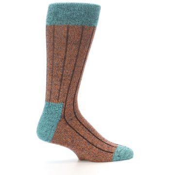 Image of Orange Teal Wool Blend Men's Dress Socks (side-1-24)