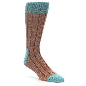 Image of Orange Teal Wool Blend Men's Dress Socks (side-1-27)