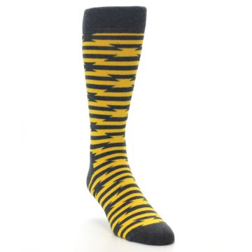 Image of Charcoal Yellow Barbwire Stripe Men's Dress Socks (side-1-front-02)