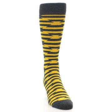 Image of Charcoal Yellow Barbwire Stripe Men's Dress Socks (side-1-front-03)