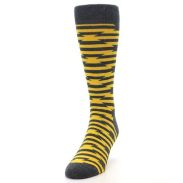 Image of Charcoal Yellow Barbwire Stripe Men's Dress Socks (side-2-front-06)