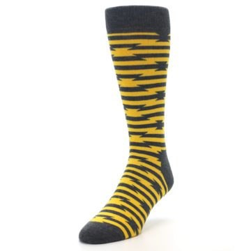 Image of Charcoal Yellow Barbwire Stripe Men's Dress Socks (side-2-front-07)