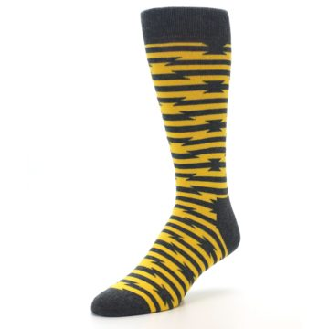 Image of Charcoal Yellow Barbwire Stripe Men's Dress Socks (side-2-front-08)