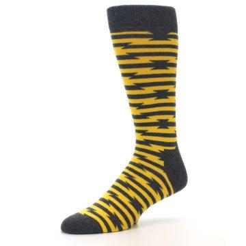 Image of Charcoal Yellow Barbwire Stripe Men's Dress Socks (side-2-09)