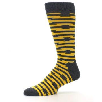 Image of Charcoal Yellow Barbwire Stripe Men's Dress Socks (side-2-10)