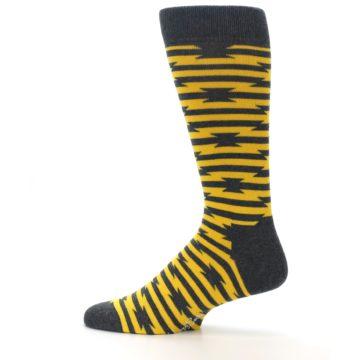 Image of Charcoal Yellow Barbwire Stripe Men's Dress Socks (side-2-12)