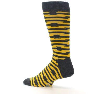 Image of Charcoal Yellow Barbwire Stripe Men's Dress Socks (side-2-13)