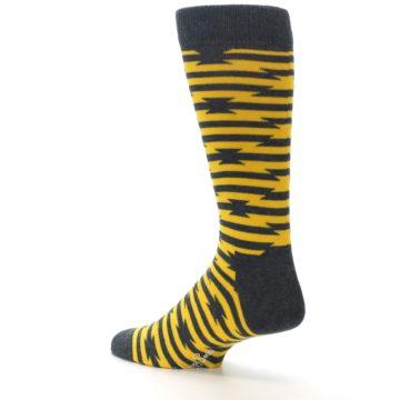 Image of Charcoal Yellow Barbwire Stripe Men's Dress Socks (side-2-back-14)