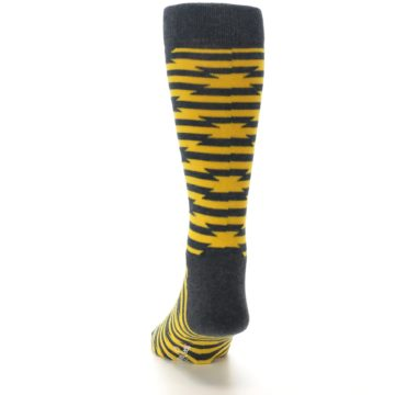 Image of Charcoal Yellow Barbwire Stripe Men's Dress Socks (back-17)