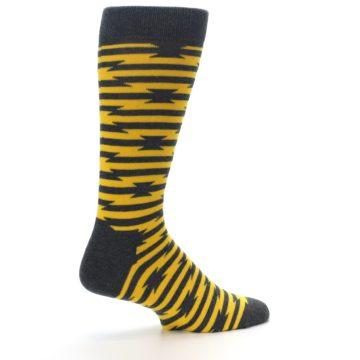 Image of Charcoal Yellow Barbwire Stripe Men's Dress Socks (side-1-23)