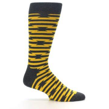 Image of Charcoal Yellow Barbwire Stripe Men's Dress Socks (side-1-24)