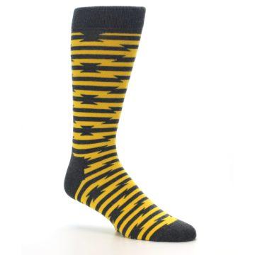 Image of Charcoal Yellow Barbwire Stripe Men's Dress Socks (side-1-26)