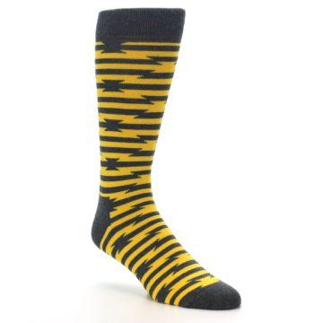 Image of Charcoal Yellow Barbwire Stripe Men's Dress Socks (side-1-27)