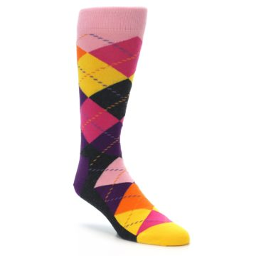 Image of Pink Purple Yellow Color Argyle Men's Dress Socks (side-1-front-01)