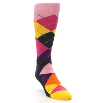 Image of Pink Purple Yellow Color Argyle Men's Dress Socks (side-1-front-02)