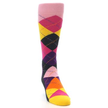 Image of Pink Purple Yellow Color Argyle Men's Dress Socks (side-1-front-03)
