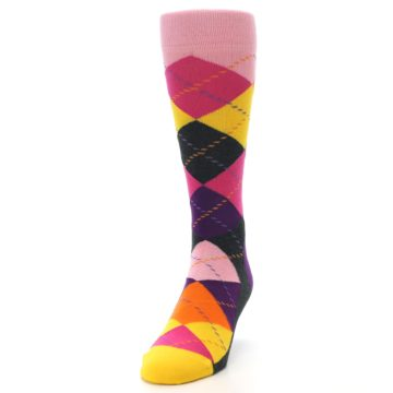 Image of Pink Purple Yellow Color Argyle Men's Dress Socks (side-2-front-06)