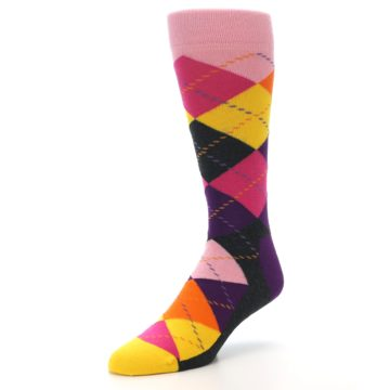 Image of Pink Purple Yellow Color Argyle Men's Dress Socks (side-2-front-08)