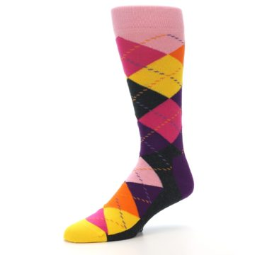 Image of Pink Purple Yellow Color Argyle Men's Dress Socks (side-2-09)