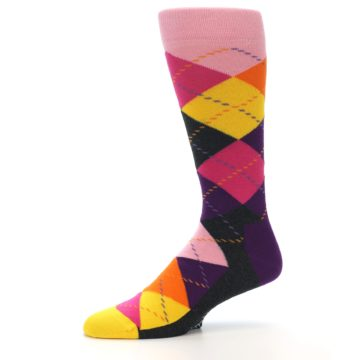 Image of Pink Purple Yellow Color Argyle Men's Dress Socks (side-2-10)