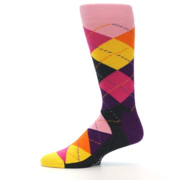 Image of Pink Purple Yellow Color Argyle Men's Dress Socks (side-2-11)