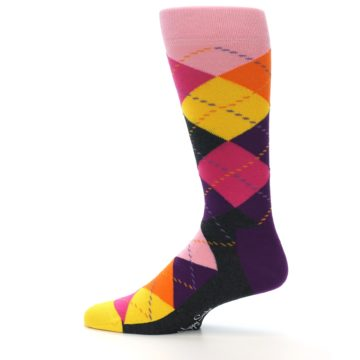 Image of Pink Purple Yellow Color Argyle Men's Dress Socks (side-2-12)
