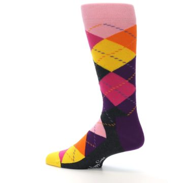 Image of Pink Purple Yellow Color Argyle Men's Dress Socks (side-2-13)