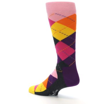 Image of Pink Purple Yellow Color Argyle Men's Dress Socks (side-2-back-14)