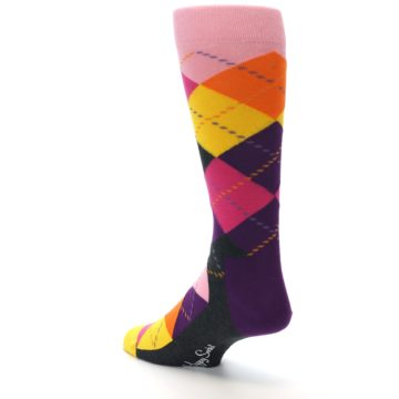 Image of Pink Purple Yellow Color Argyle Men's Dress Socks (side-2-back-15)