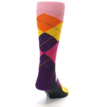 Image of Pink Purple Yellow Color Argyle Men's Dress Socks (side-1-back-20)