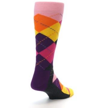 Image of Pink Purple Yellow Color Argyle Men's Dress Socks (side-1-back-21)