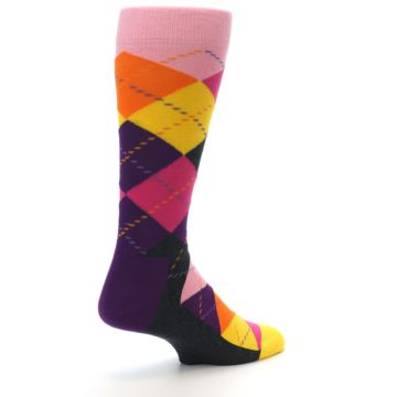 Image of Pink Purple Yellow Color Argyle Men's Dress Socks (side-1-back-22)