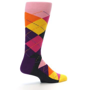 Image of Pink Purple Yellow Color Argyle Men's Dress Socks (side-1-23)