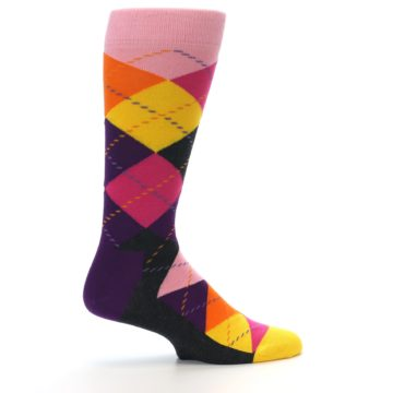 Image of Pink Purple Yellow Color Argyle Men's Dress Socks (side-1-24)