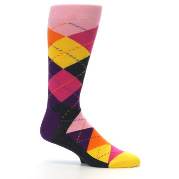 Image of Pink Purple Yellow Color Argyle Men's Dress Socks (side-1-25)