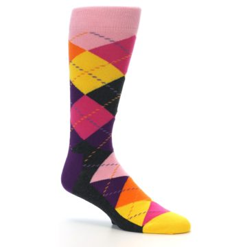 Image of Pink Purple Yellow Color Argyle Men's Dress Socks (side-1-26)