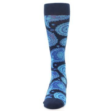 Image of Navy Aqua Paisley Men's Dress Socks (front-05)