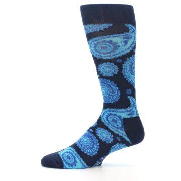 Image of Navy Aqua Paisley Men's Dress Socks (side-2-11)